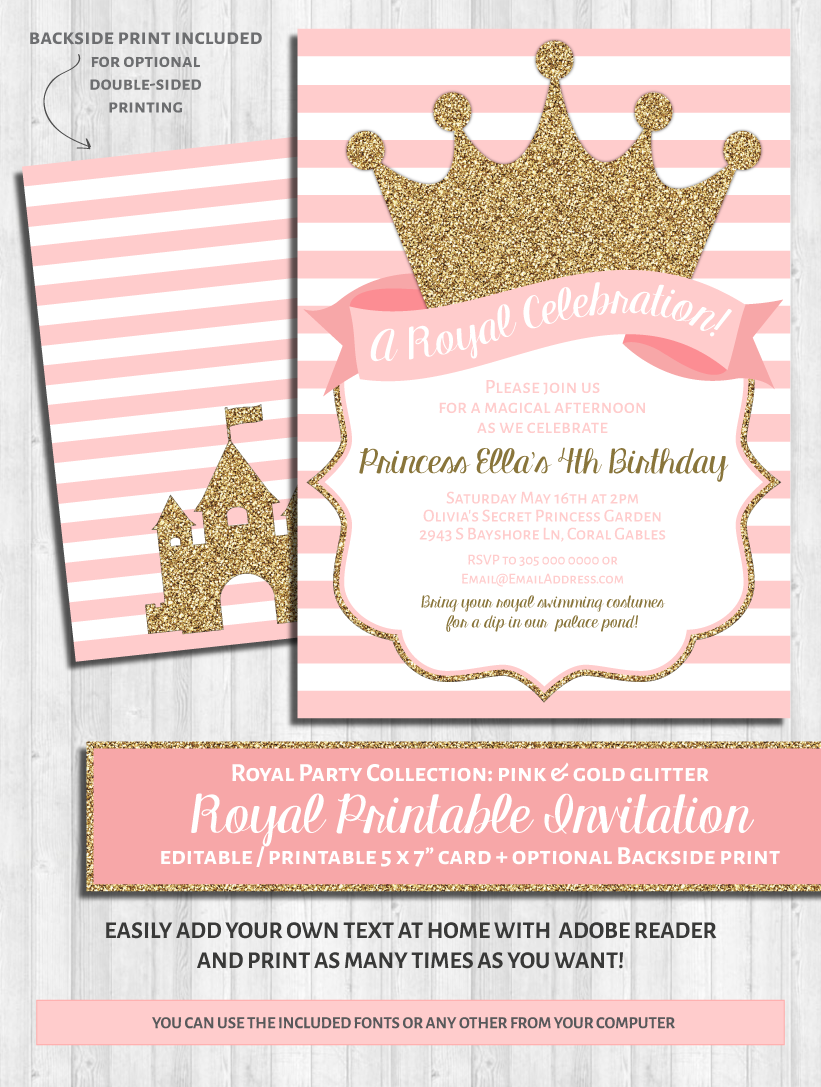 Princess Party Invitations: Pink & Gold | Princess party ...