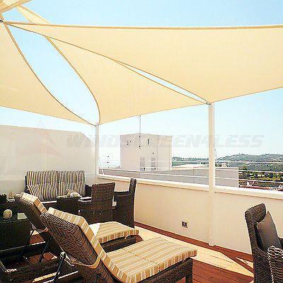 16u0027 X 16u0027 X 16u0027 Triangle Sun Shade Sail Fabric Outdoor Canopy Patio Awning  Cover