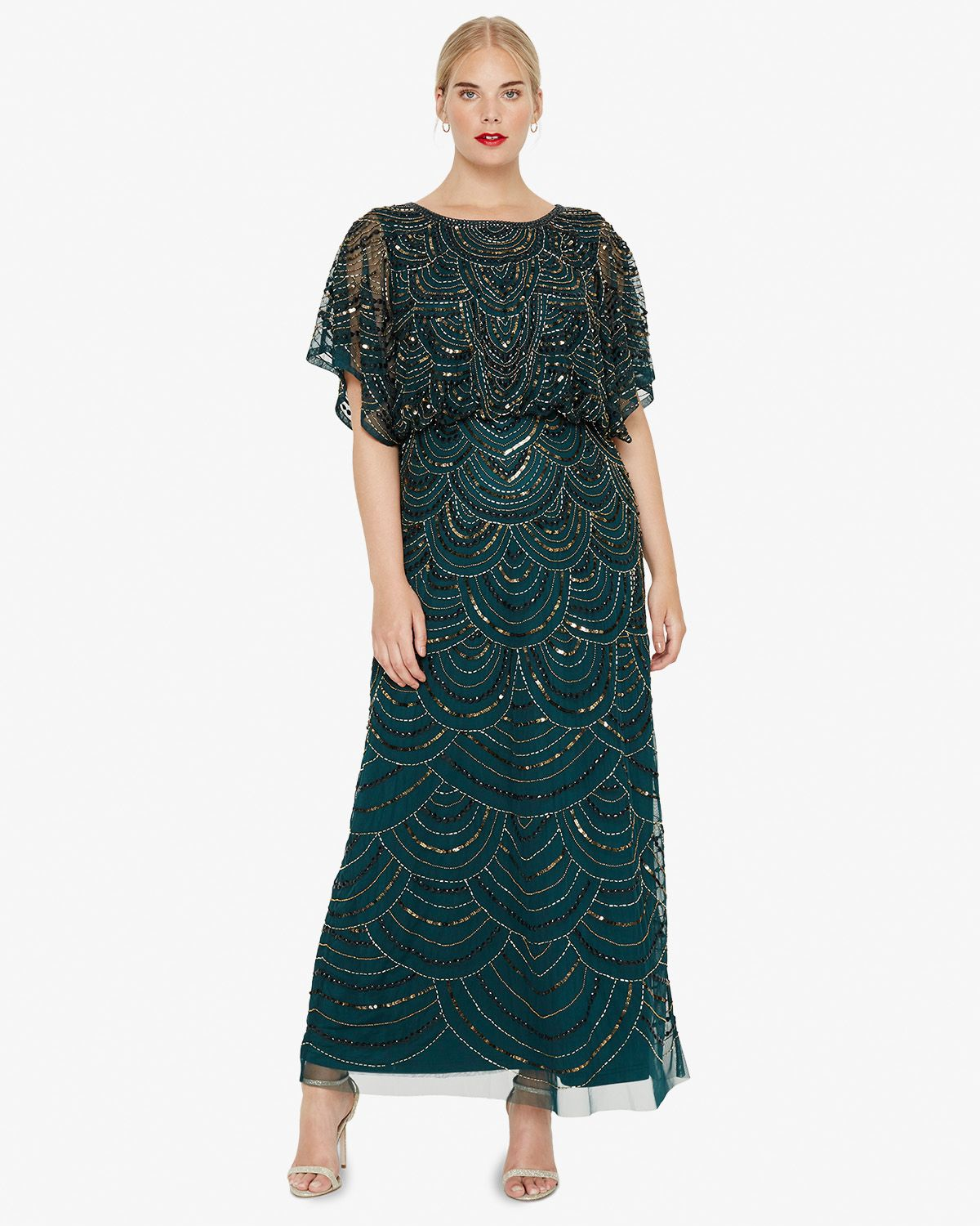 aed6c5dd617 Art Deco long beaded plus size gatsby dress in green with sleeves   greatgatsby