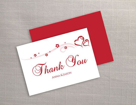 Diy Printable Wedding Thank You Card Template Editable Ms Word File 3 5 X 5 Instant Download Red Heart Romance Thank You Card Template Baby Thank You Cards Free Thank You Cards