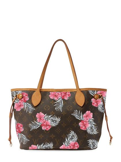 29735216ef69 Hand Painted 'Tropical Flower' Customized Monogram Canvas Neverfull PM by Louis  Vuitton at Gilt