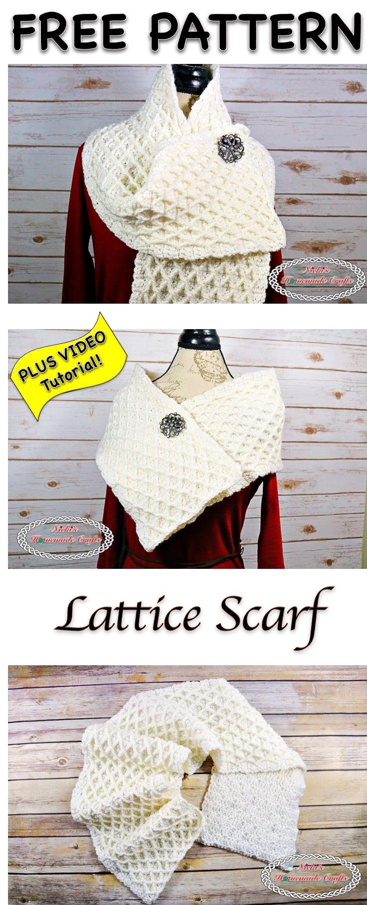 Lattice Scarf - Free Crochet Pattern | Chal, Tejido y Ponchos