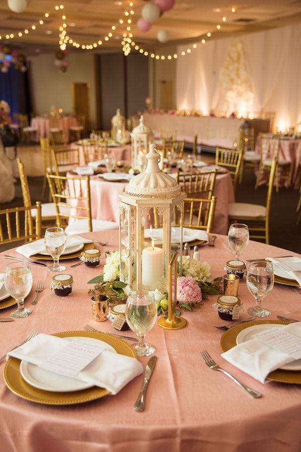Blush And Gold Wedding Reception Lantern Centerpieces