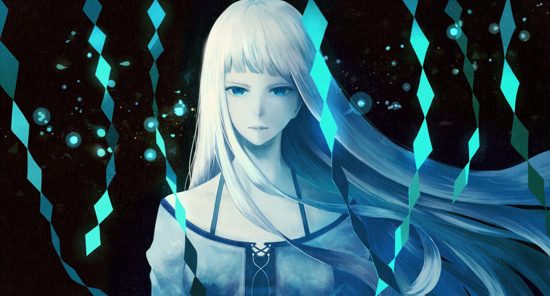 Anime Original Girl Long Hair White Hair Blue Eyes Dress