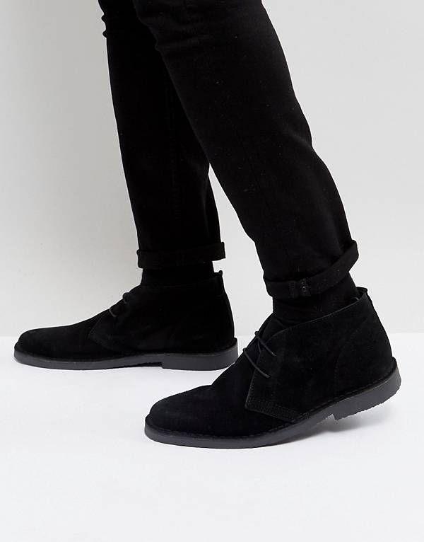 Pier One Leather Desert Boots In Black buy online authentic DJeRUuXT