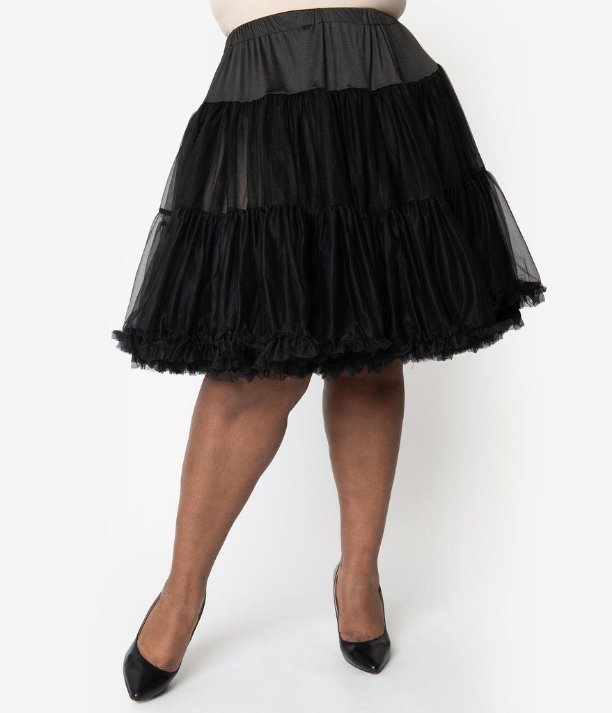 89d280aaeb5c Unique Vintage Plus Size 1950s Style Black Tea Length Ruffled Chiffon