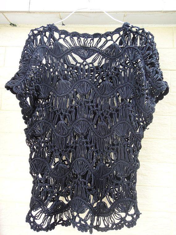 horquilla crochet mujeres túnica blusa de encaje superior verano ...