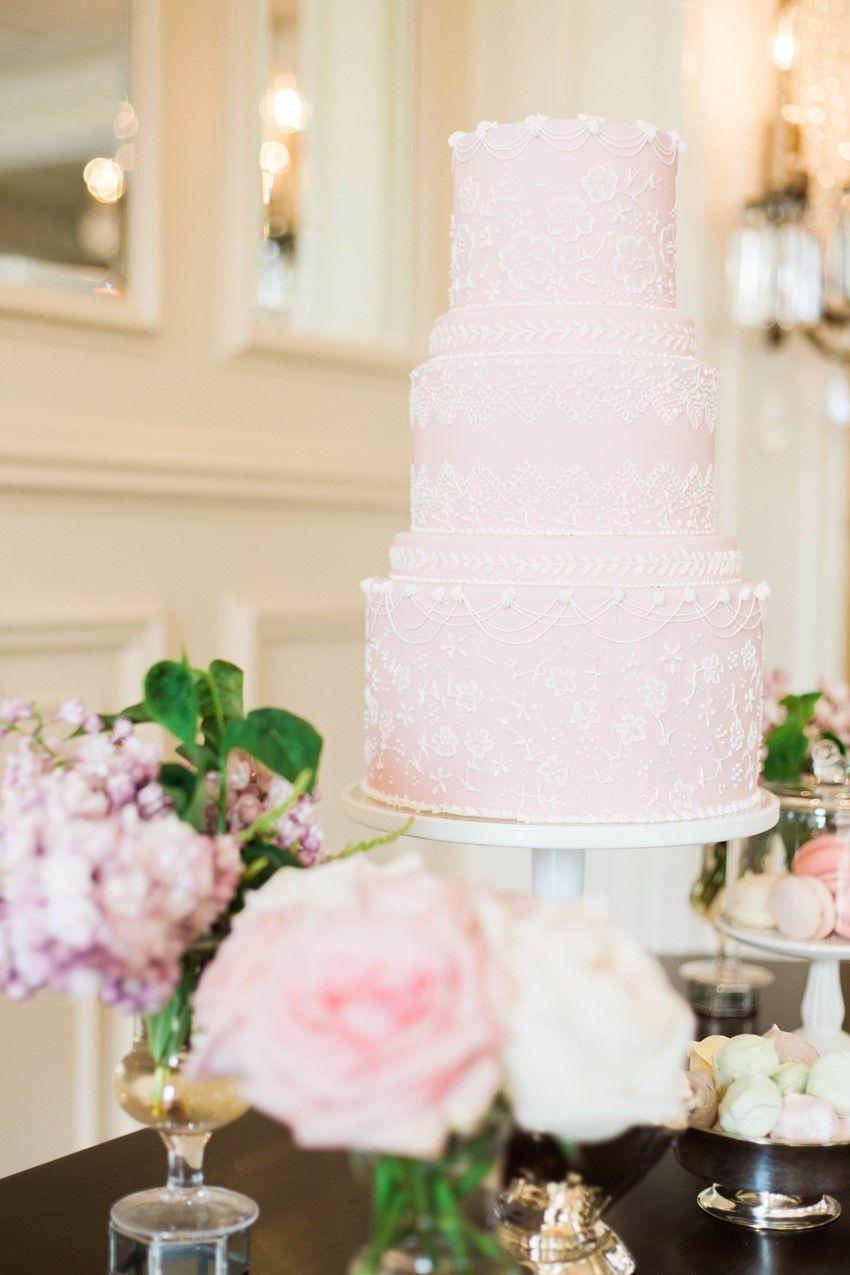 Glamorous Wedding Shoot Inspired By Gossip Girl Pastel Pink - Pastel Pink Wedding Cake