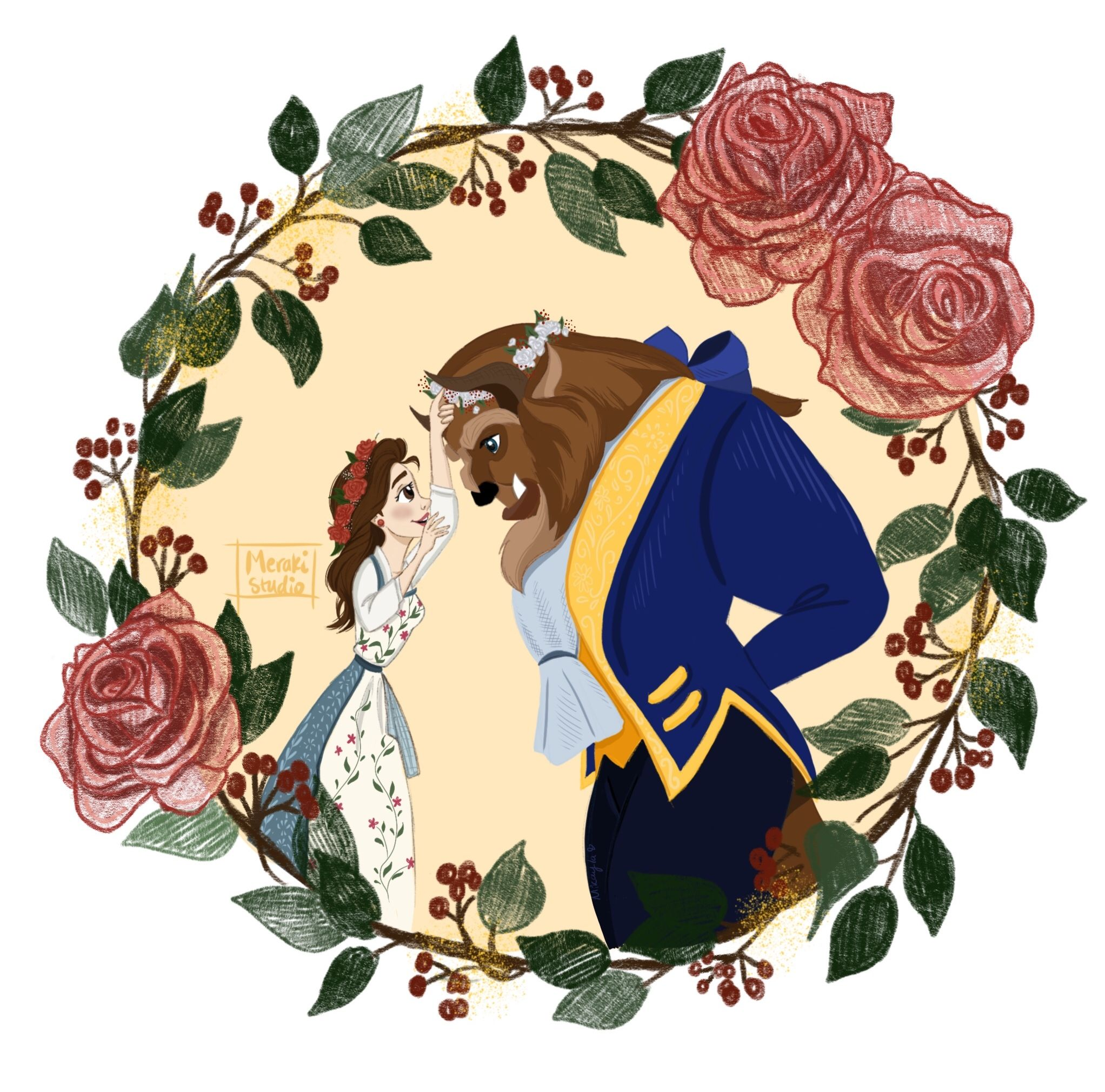 Belle And The Beast From The Flower Crown Series By Itsmikstudio