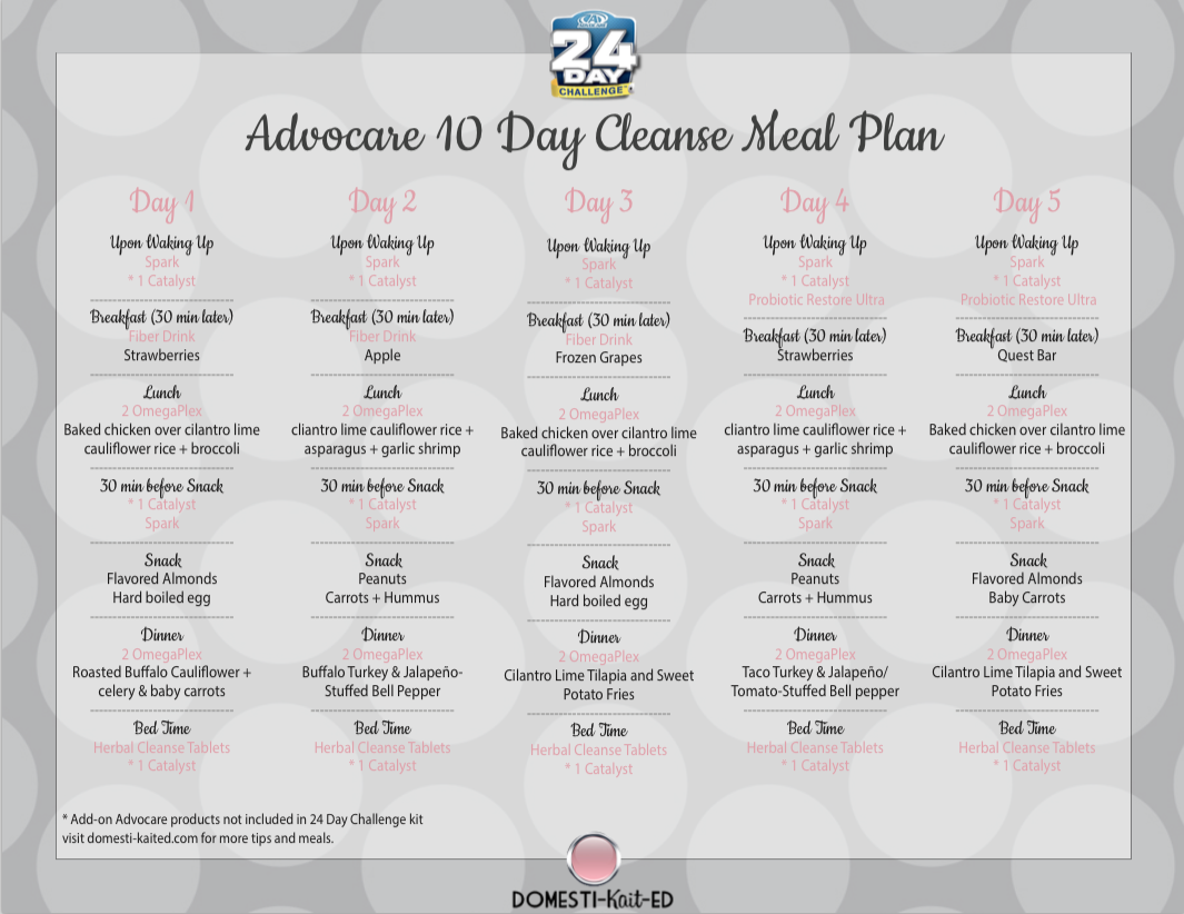 Advocare 10 Day Cleanse Meal Plan A Meal Plan For The First 10 Days Of The 24 Day Challenge