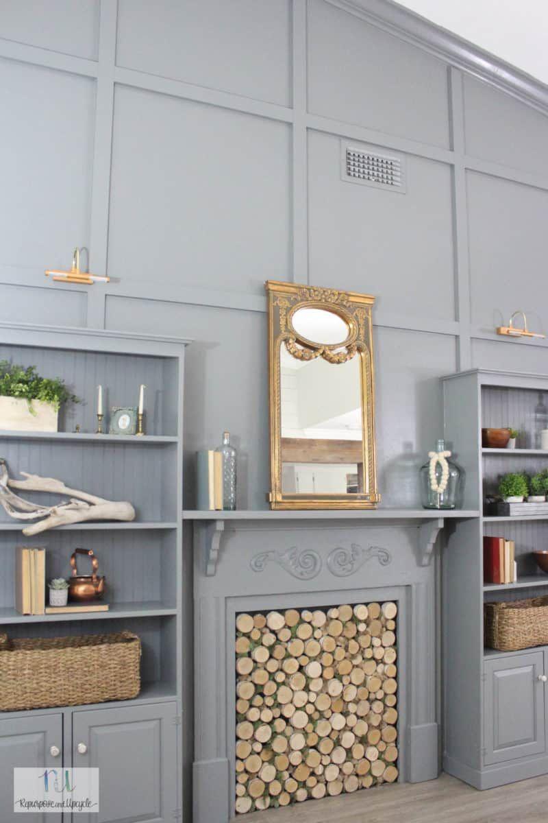 DIY Feature Wall of Built In Bookshelves Bookshelves