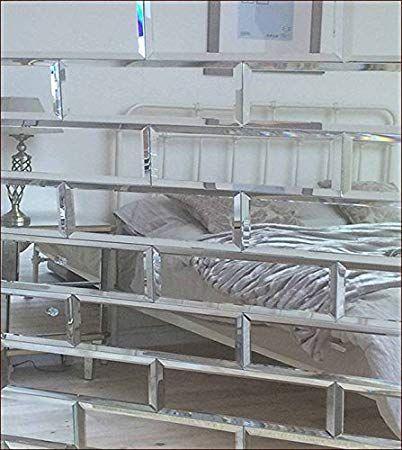 Squarefeet Depot 4x12 Beveled Crystal Mirror Tile Walls ...