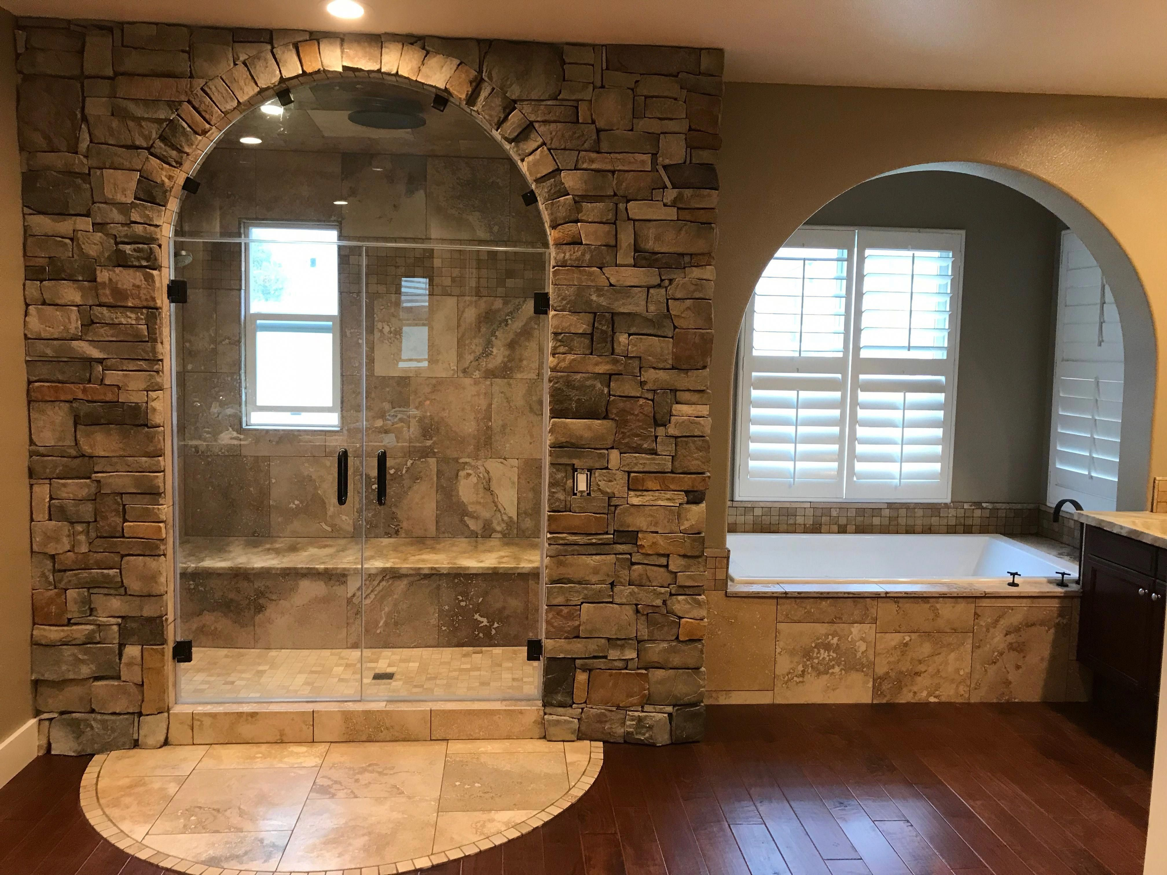 Master Bathroom- Steam shower, Jacuzzi tub for two, stone ...