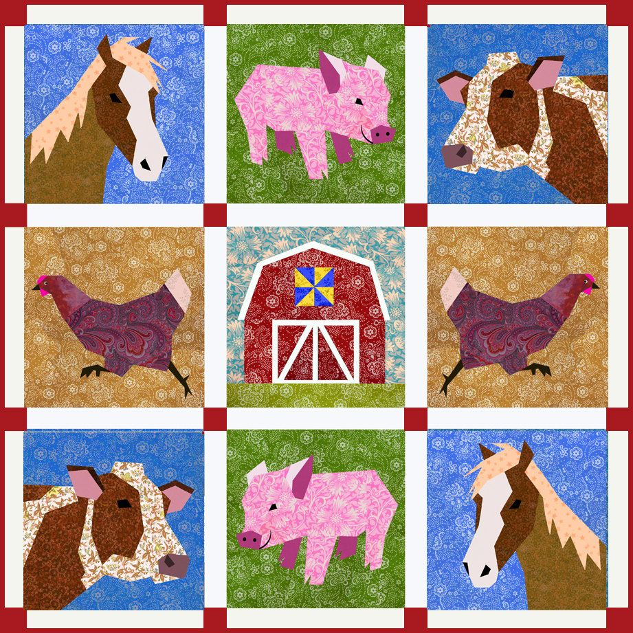 Chicken run quilt block, paper pieced quilt pattern, PDF pattern ... : chicken quilt block - Adamdwight.com