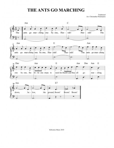 The Ants Go Marching Sheet Music With Images Sheet Music