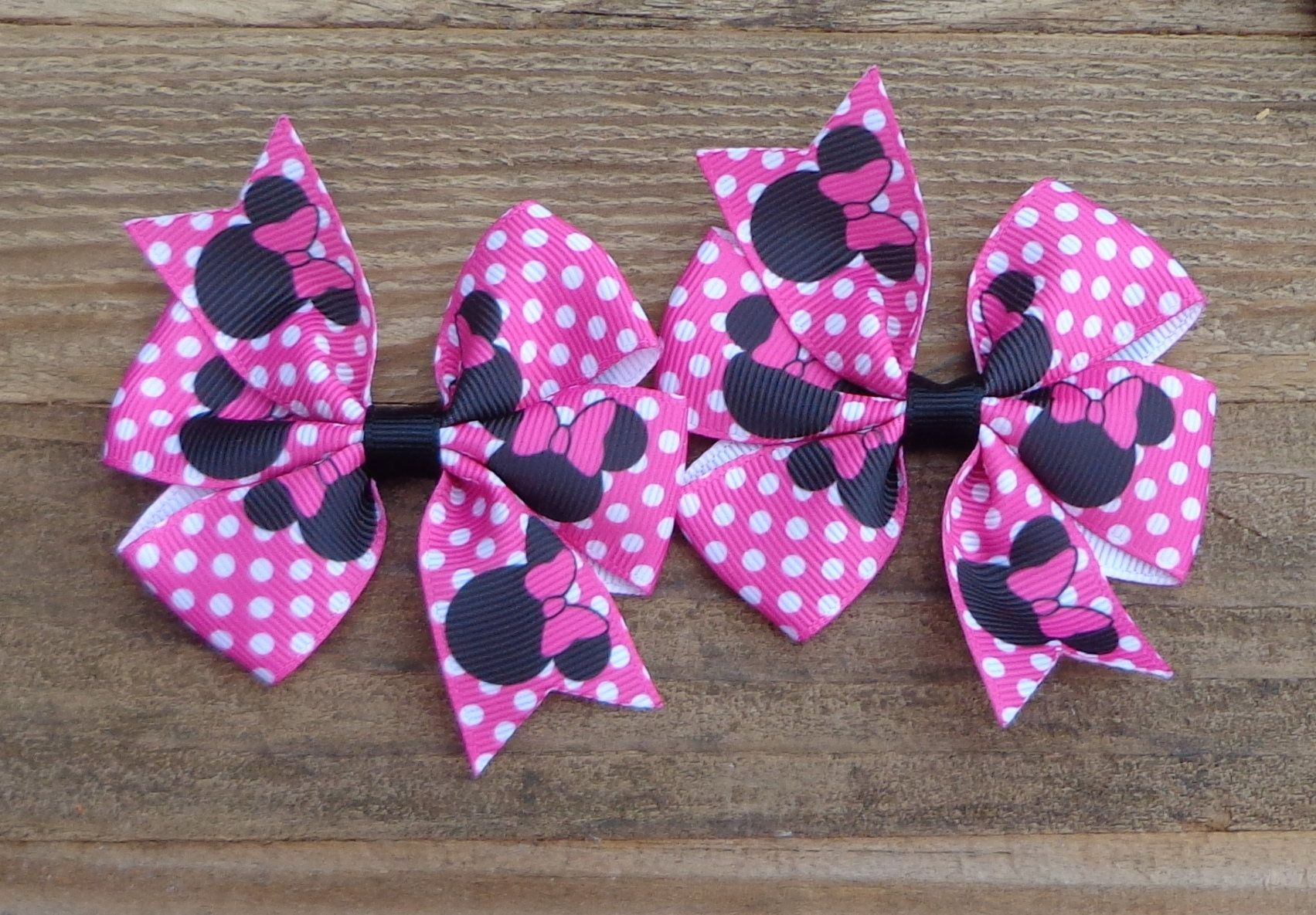 Minnie Mouse Birthday Hair Bow~Small Pigtail Bows~PINK Minnie Hair Clips~Minnie Mouse Polka Dot Hair Bow~1st Birthday Minnie Mouse Hair Bow