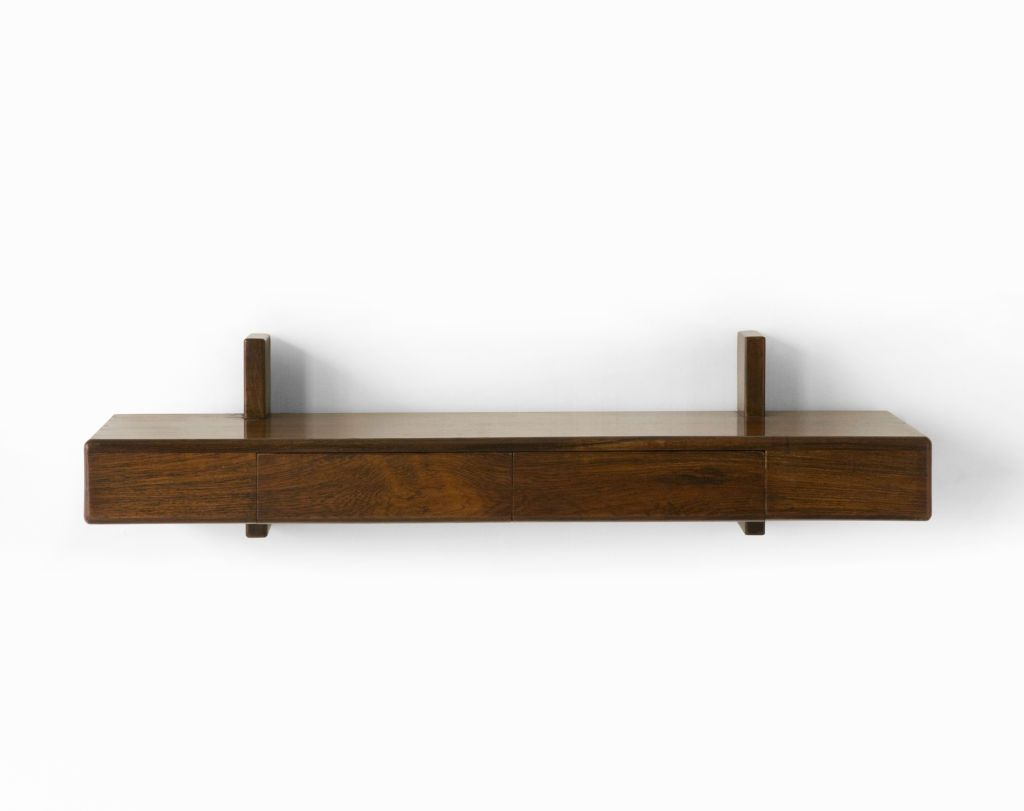 Decorative Wall Mounted Shelf And Storage Drawer : Brown walnut wood wall mounted bookshelves with piece