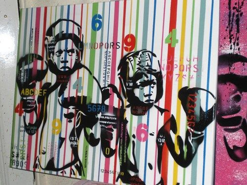 Urban Wall Art boxer kids custom painting,stencil art on canvas,urban art,pop
