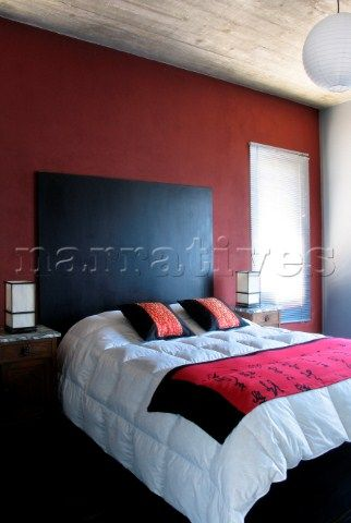 Love This Another Example Of One Dark Red Wall In A Room Cherry Blossom On White