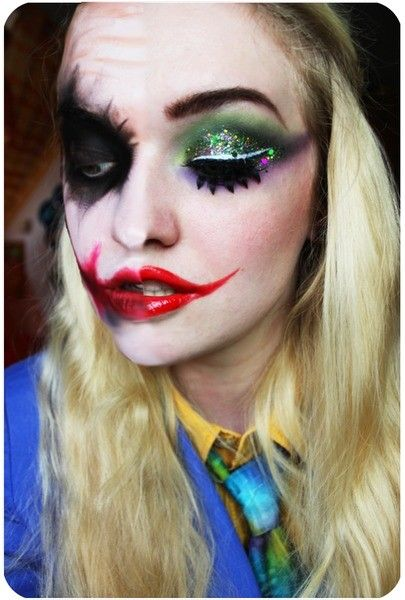 colorful sequin eyeshadow and bloody mouth joker face