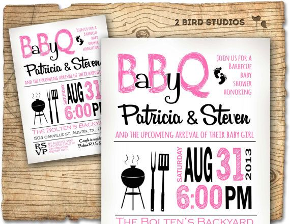 BBQ Baby Shower Invitation   Baby Q Baby Shower Invite  COED Barbecue  Couples Shower   Printable DIY Invite