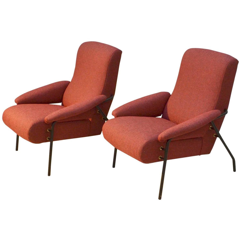 Pair of red italian 1960s lounge chairs 1stdibs com