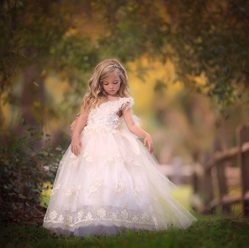 Fluffy Lace Appliques Flower Girl Dresses Ball Gownskids Prom