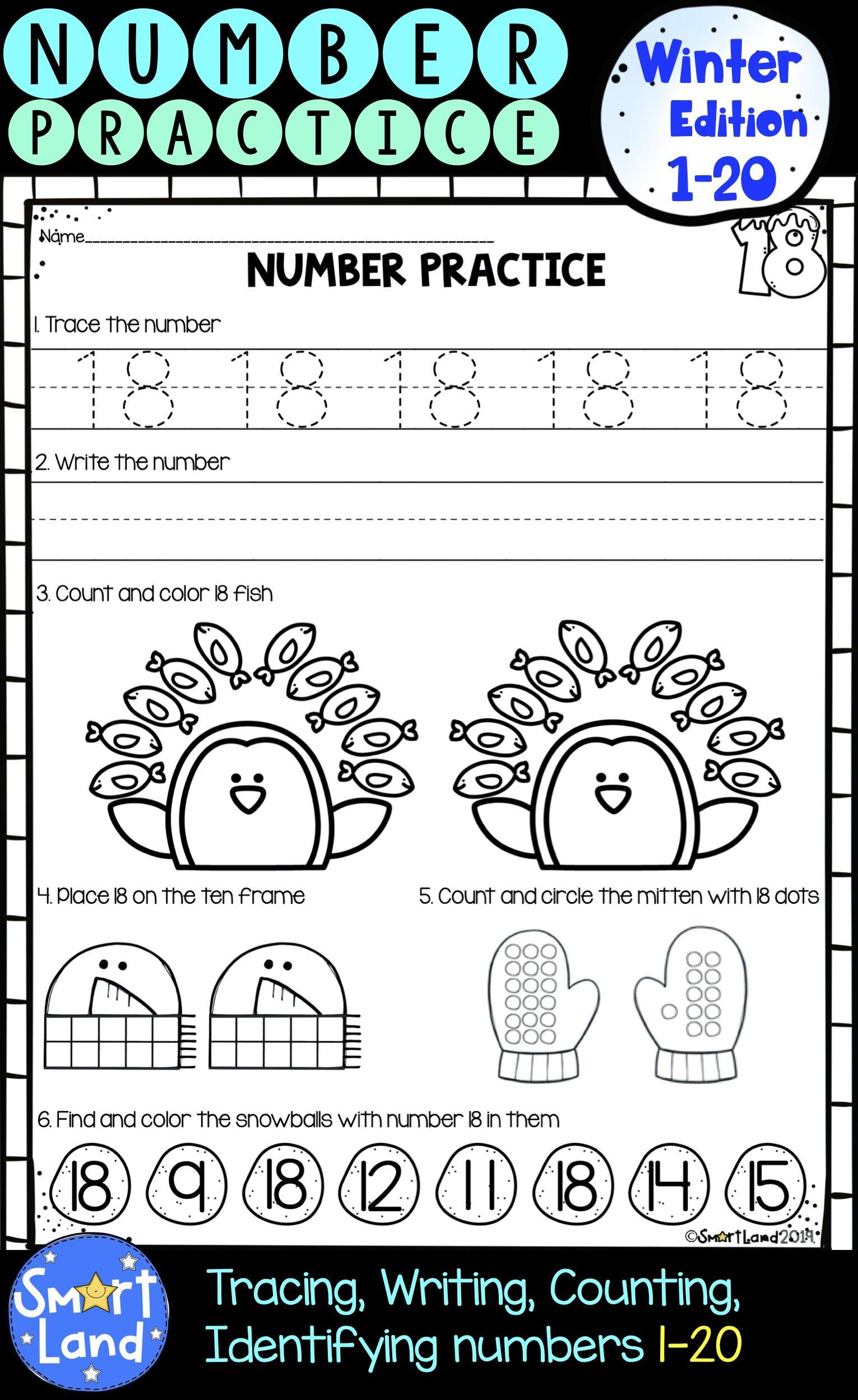 Numbers 1 20 Handwriting And Counting Practice Worksheets Winter Edition Kindergarten Worksheets Kindergarten Addition Worksheets Math Number Sense [ 2500 x 1531 Pixel ]