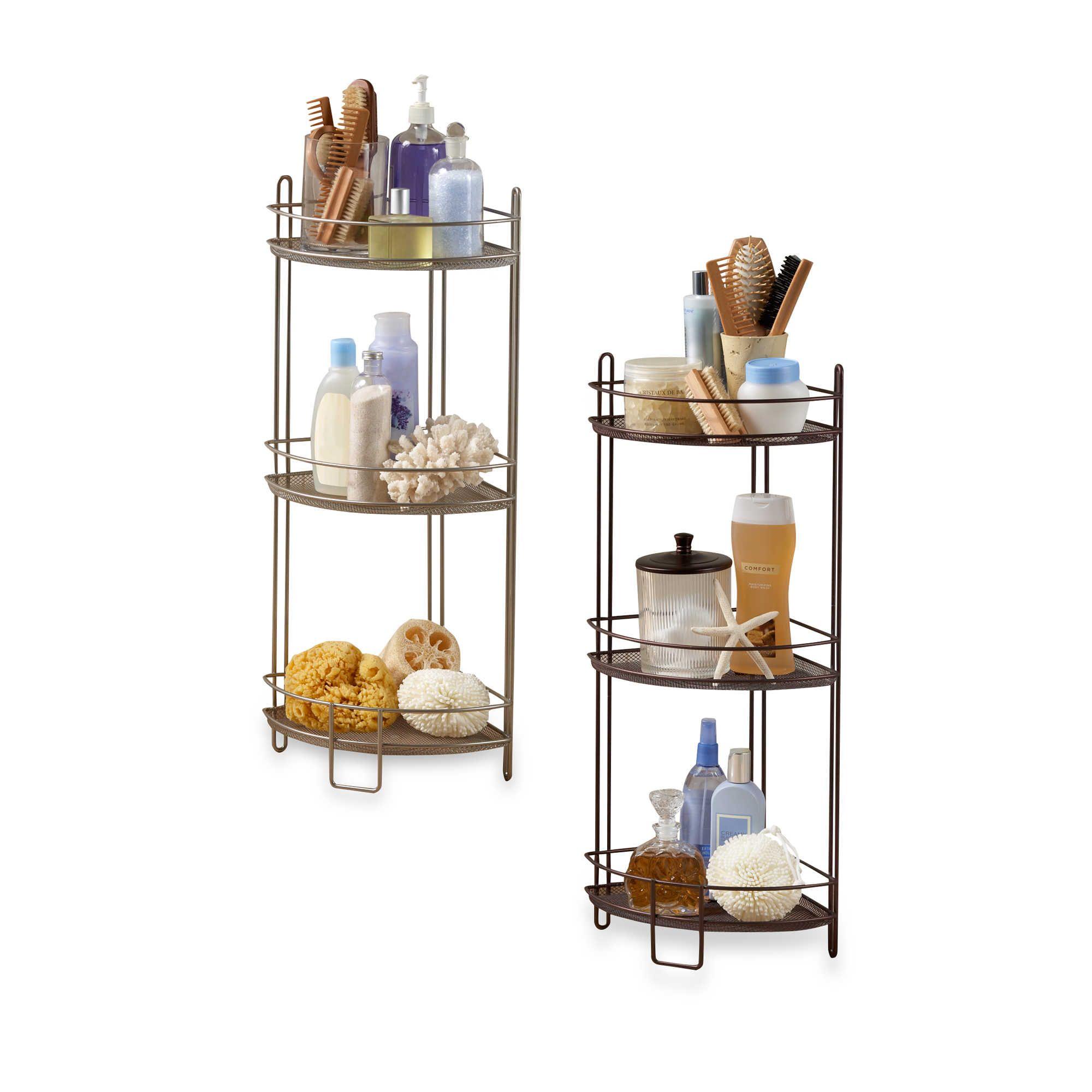 3 Tier Corner Storage Shelf In Satin Nickel