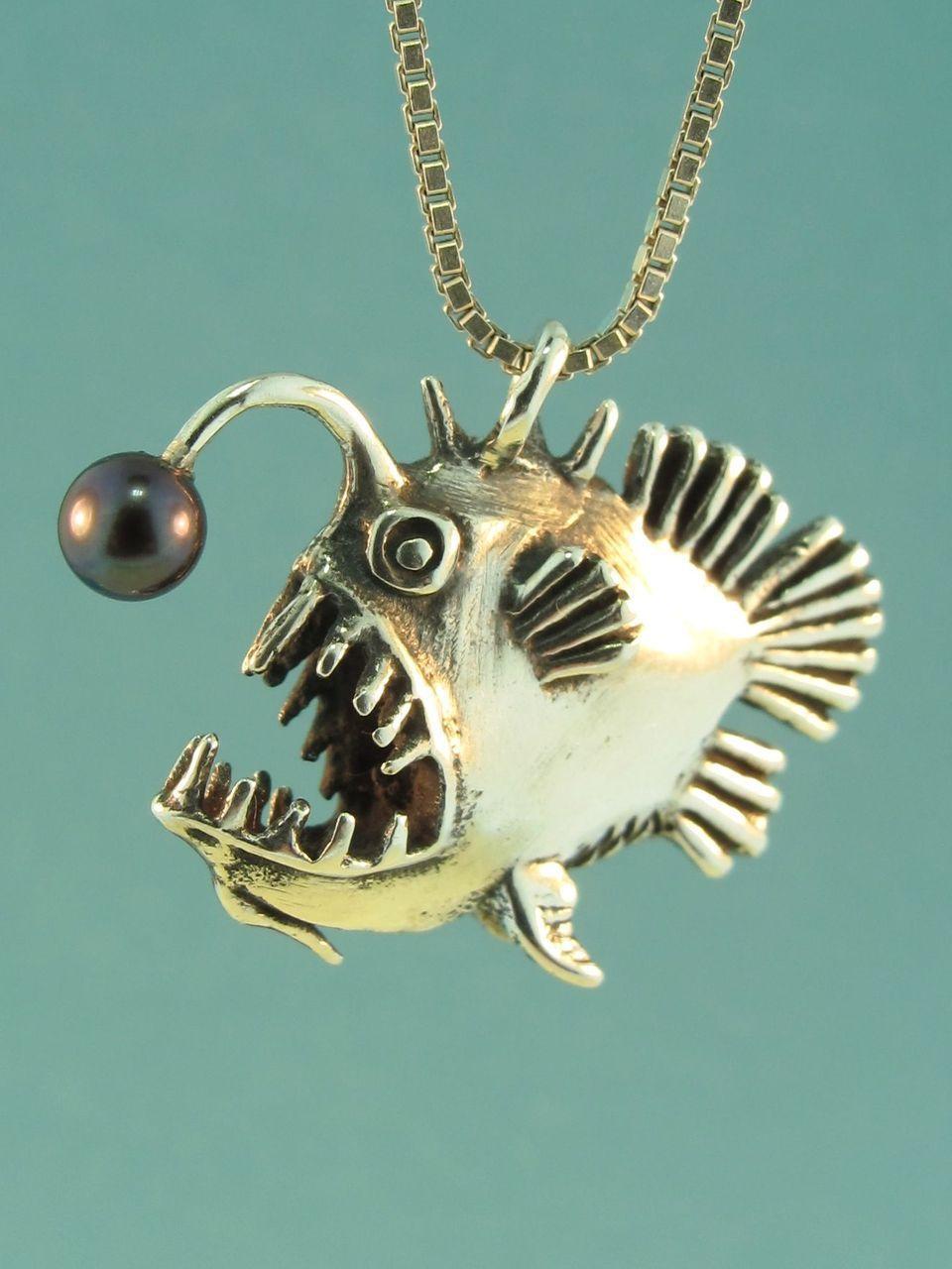 Silver Angler Fish Charm with Black Pearl Silver Angler fish