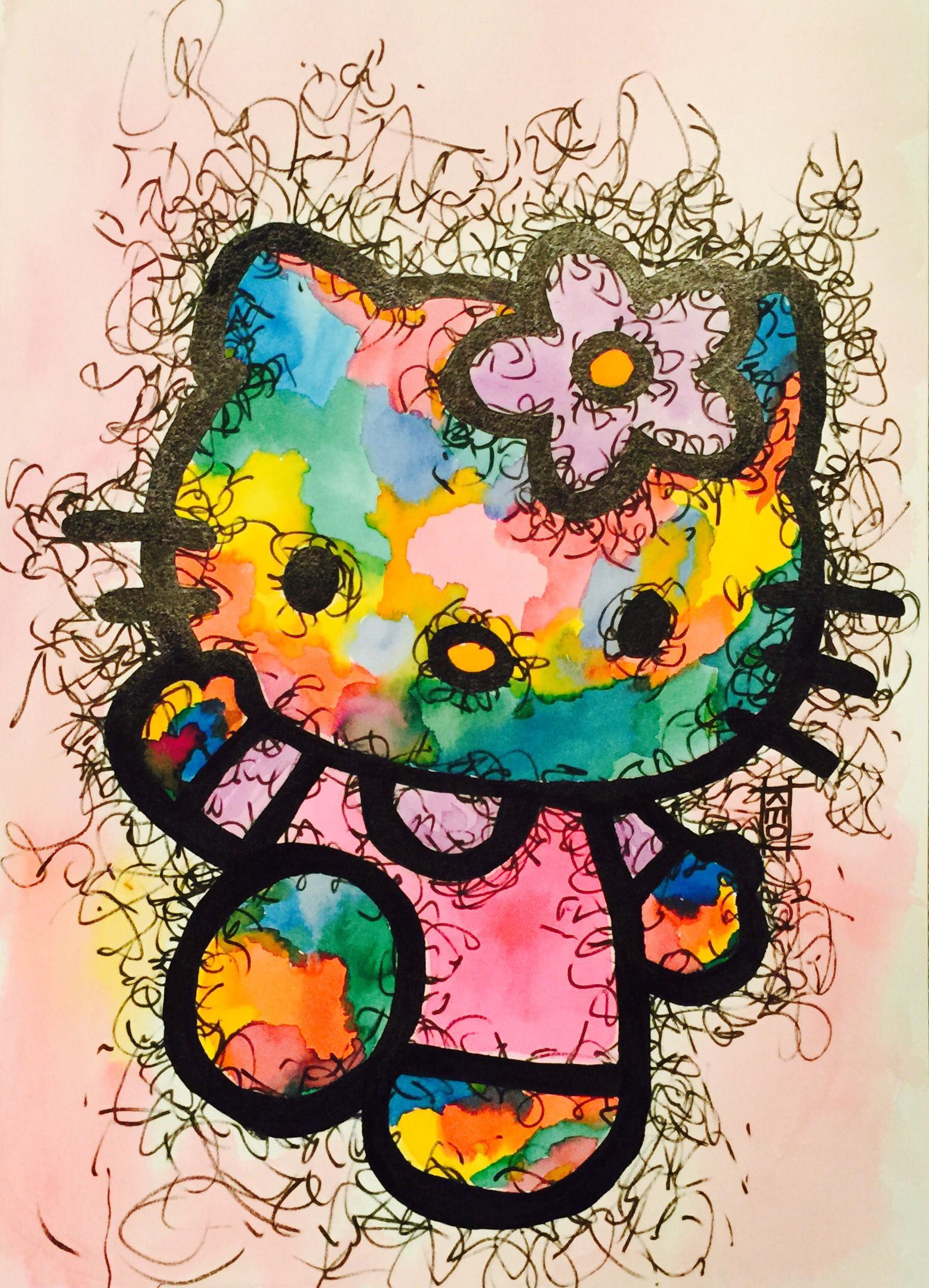 cf413755e3ff Hello Abstract Kitty 12 x 18 watercolor   ink -sold-