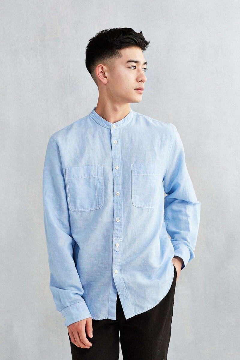 men's topman slim fit paisley band collar shirt   sew