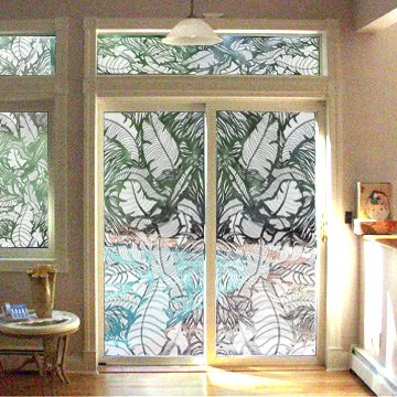 Full Door Etched Tropical Leaves Decal From Etcheddesignscom - Vinyl stickers for glass doors