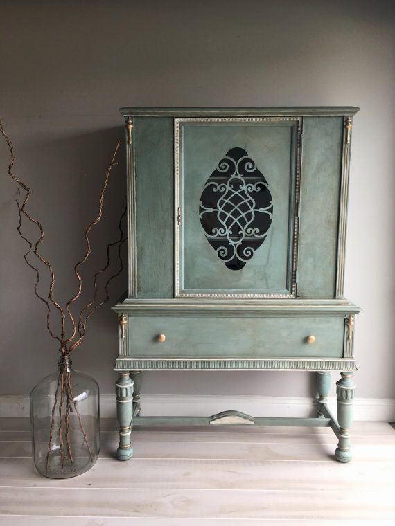 Reloved Chalk Painted Blue Green Vintage China Cabinet