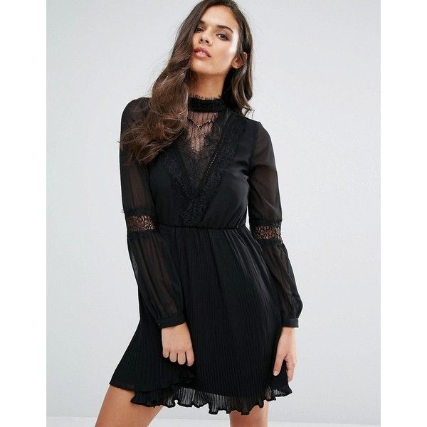 Vero Moda Lace Detail Skater Dress ($68) ❤ liked on Polyvore featuring dresses, black, braid dress, skater dress, lace trim dress, lace detail dress and pleated skater dress