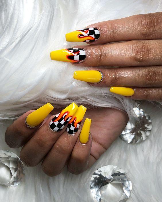 Cute Acrylic Nails Acrylicnails Acrylicnaildesigns Acrylicnailart Nailart Nails Nailsofinstagram Fakena Checkered Nails Yellow Nails Best Acrylic Nails