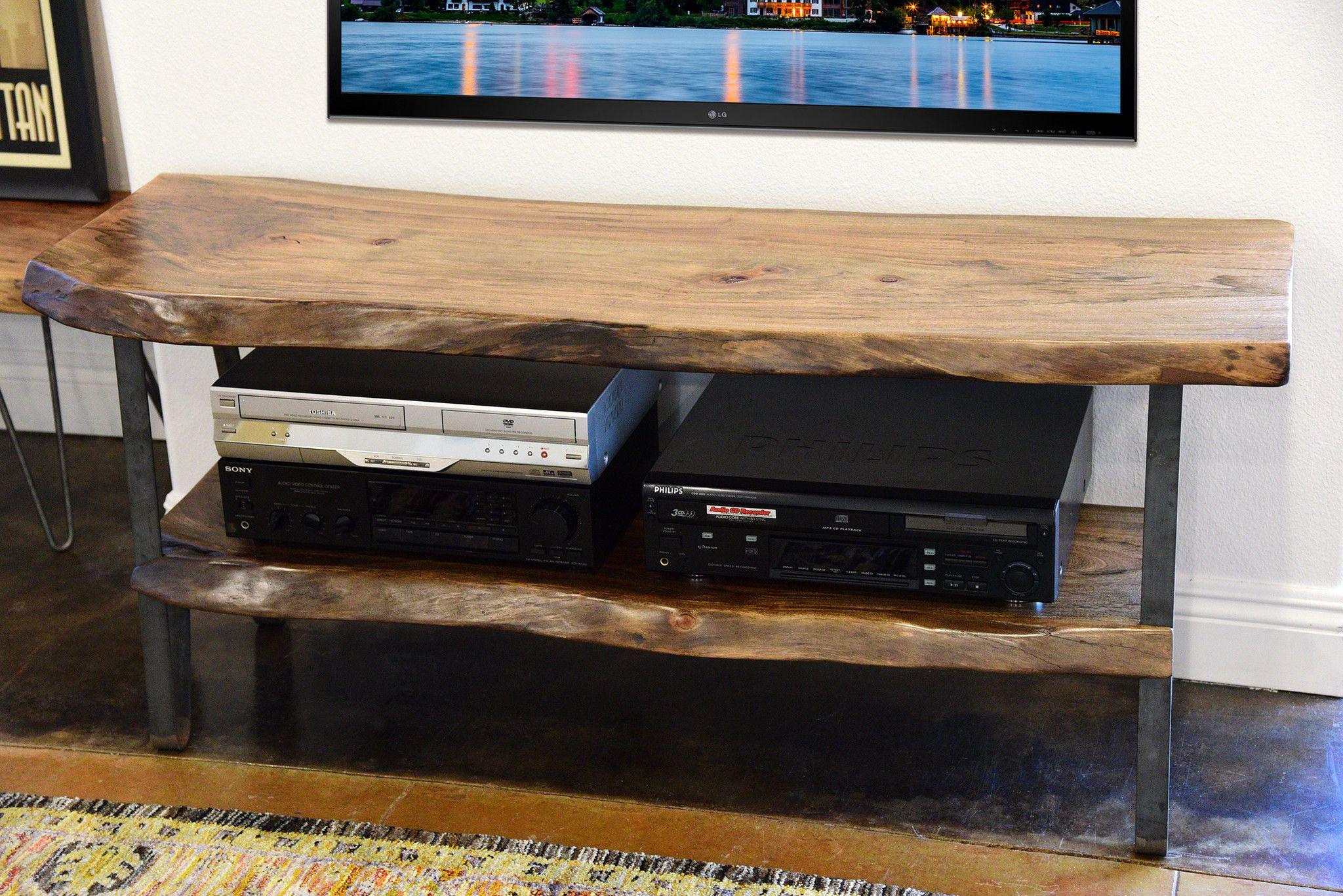 Industrial Modern Live Edge Slab Tv Stand Tv Stands Industrial  # Table De Television Plasma En Bois