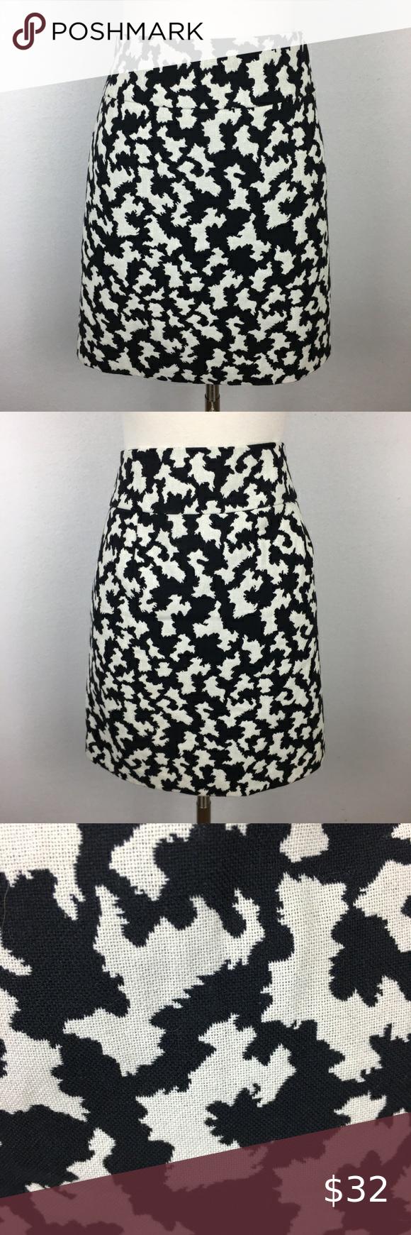 Loft Outlet NWT Black & White Print Skirt 10 Loft Outlet NWT Black & White Print Skirt 10 lined white is more of a natural white  16.5
