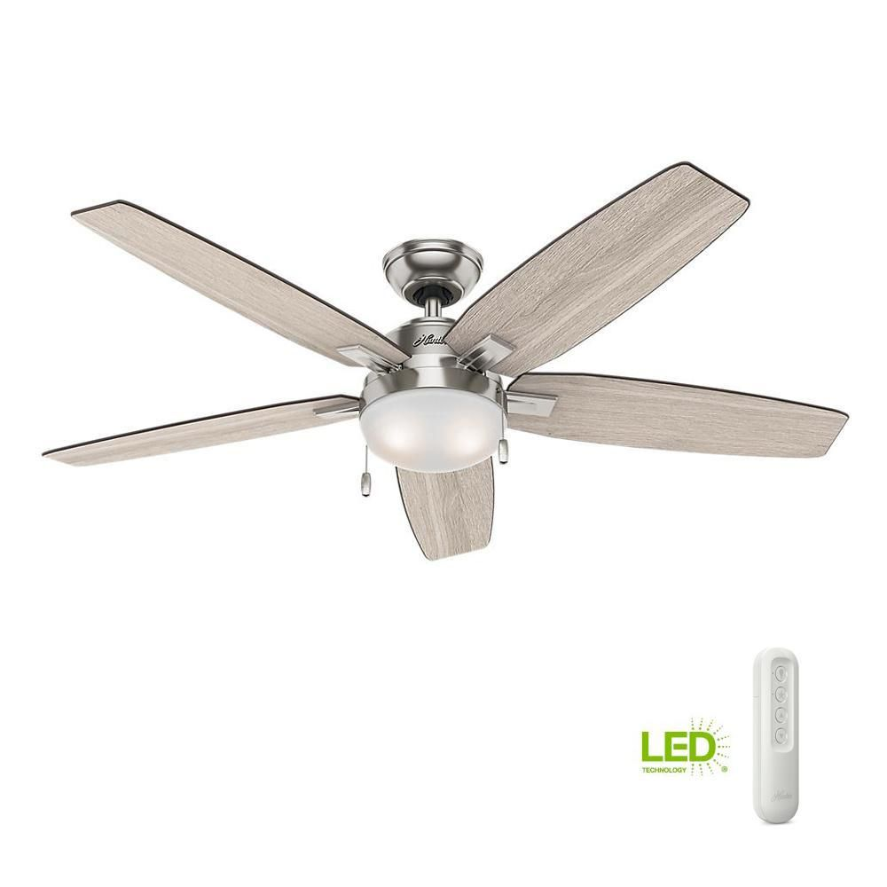 Hunter Antero 54 In Led Indoor Brushed Nickel Ceiling Fan With