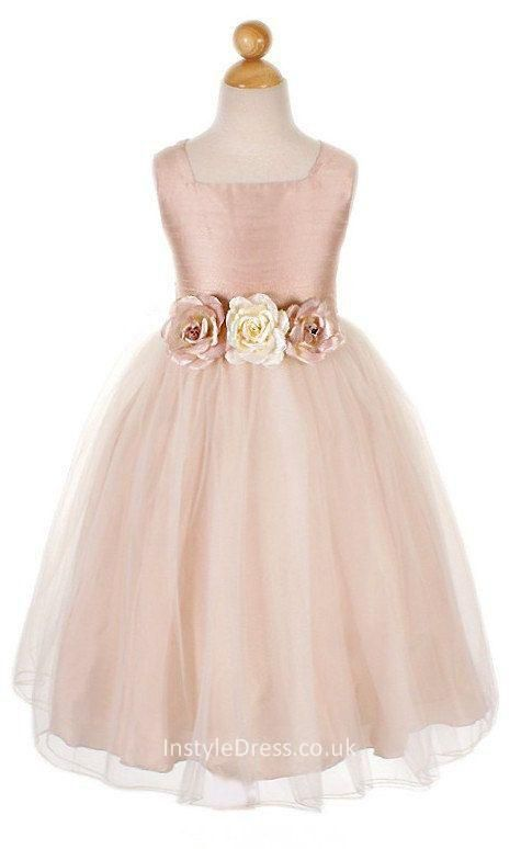 e11902eb33a4 Sleeveless Flowery Waist Satin and Tulle Flower Girl Dress | WEDDING ...