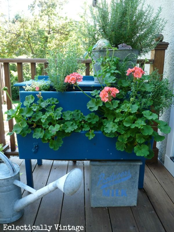 Dress Up Your Plants with a Dresser - create your own dresser planter for a bit of whimsy! kellyelko.com #planter #garden #gardens #gardener #greenthumb #landscape #landscaping #plants #diyideas #outdoors #outdoorideas #upcycle #thrifted #thrifty #repurpose #vintage #vintagedecor #farmhousedecor #kellyelko