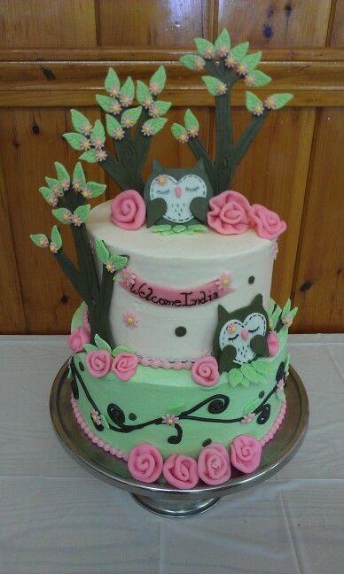 Buttercream owl baby shower cake