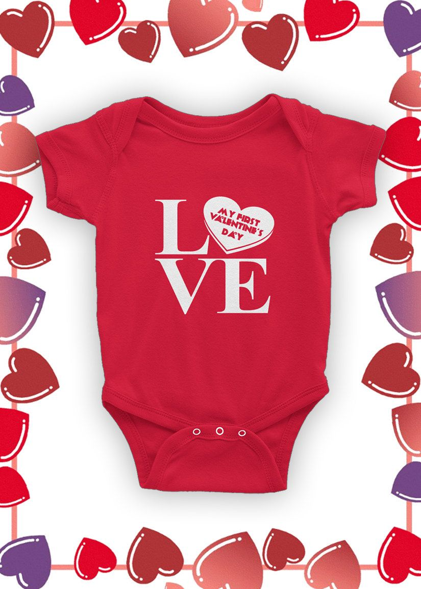 Baby's 1st Valentine's Day Baby Bodysuit by 123GeekTees on Etsy