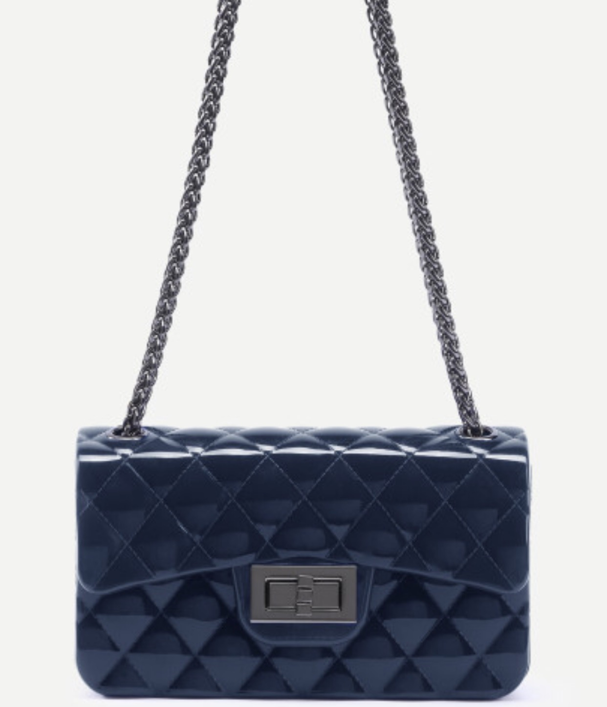 shiny quilted crossbody boy purse w chain blue chain bags purses and handbags bags pinterest