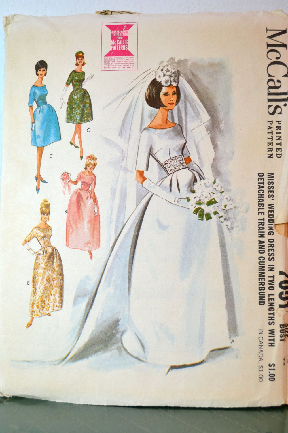 1960s vintage mccall 39 s pattern 7091 misses by for Mccall wedding dress patterns