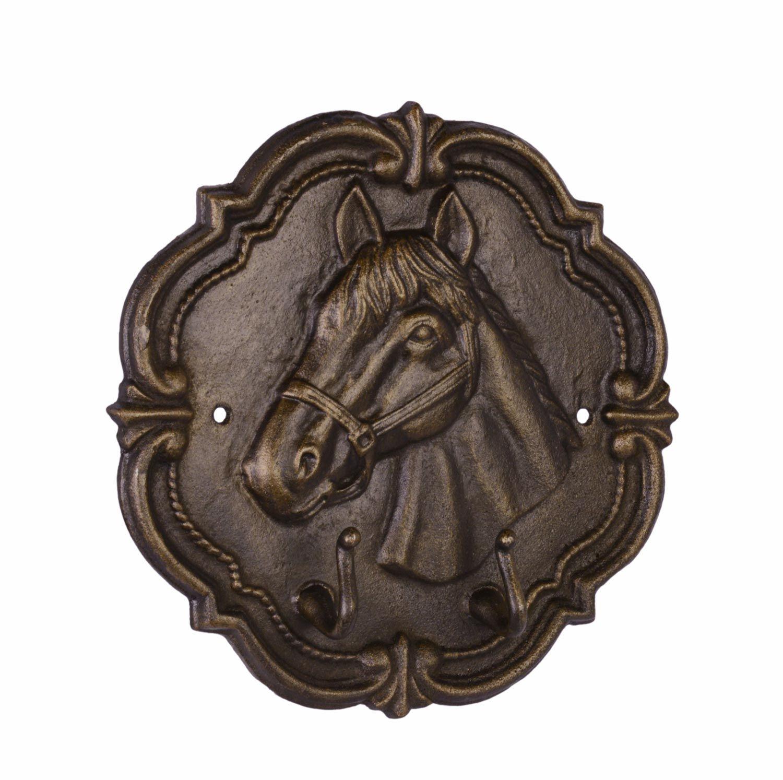 Nostalgie Schaukelpferd Pferd Deko Figur Creme Vintage: Kleiderhaken Wandgarderobe Garderobe Pferd Figur Eisen