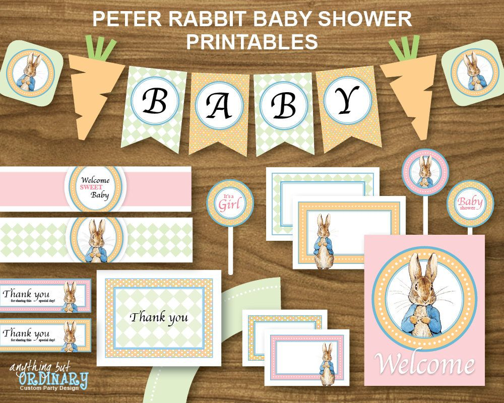 Peter Rabbit Baby Shower, DIY Printable Party Package, Digital File.  $12.00, Via
