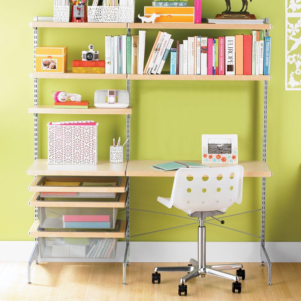 Elfa Decor Freestanding Study Zone In 2020 Container Store Elfa Shelving Elfa