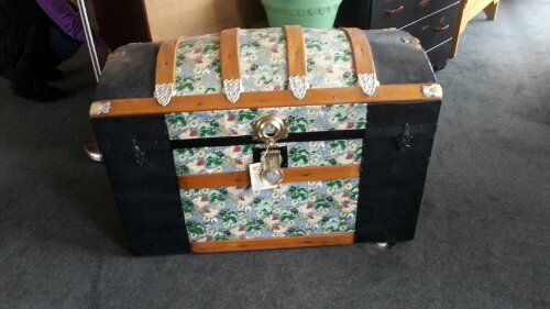 Vintage hand painted trunk