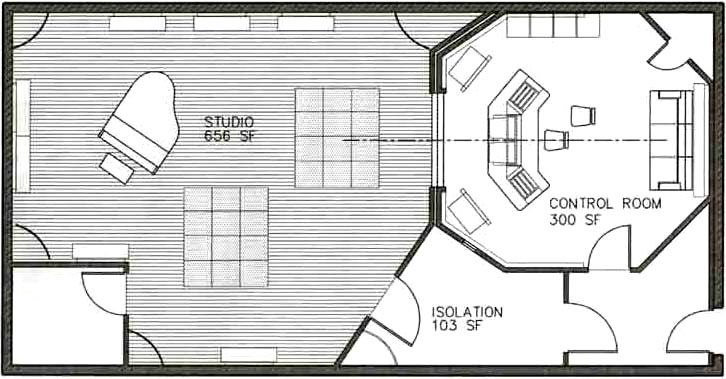 Stunning recording studio floor plans 726 x 379 60 kb for Studio layout plan